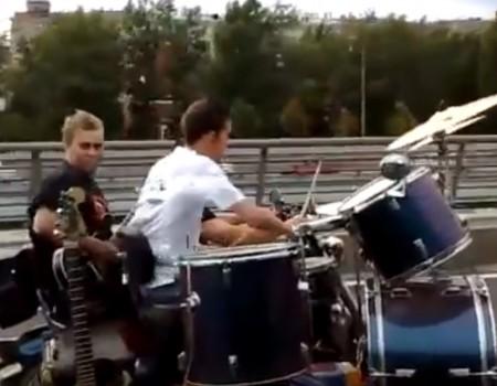 """Virales Video """"Mobile Band auf der Autobahn"""""""