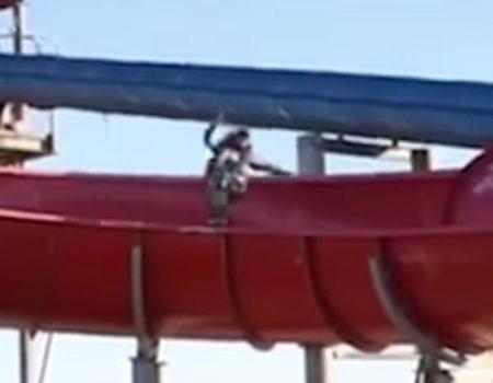 """Virales Video """"Josh Peacock Henderson skatet lebensgefährlich mit seinem Board auf einer Wasserrutsche"""""""